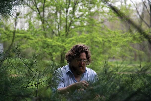 Zak Pelaccio gathering pine needles near his home in Old Chatham. - PETER BARRETT