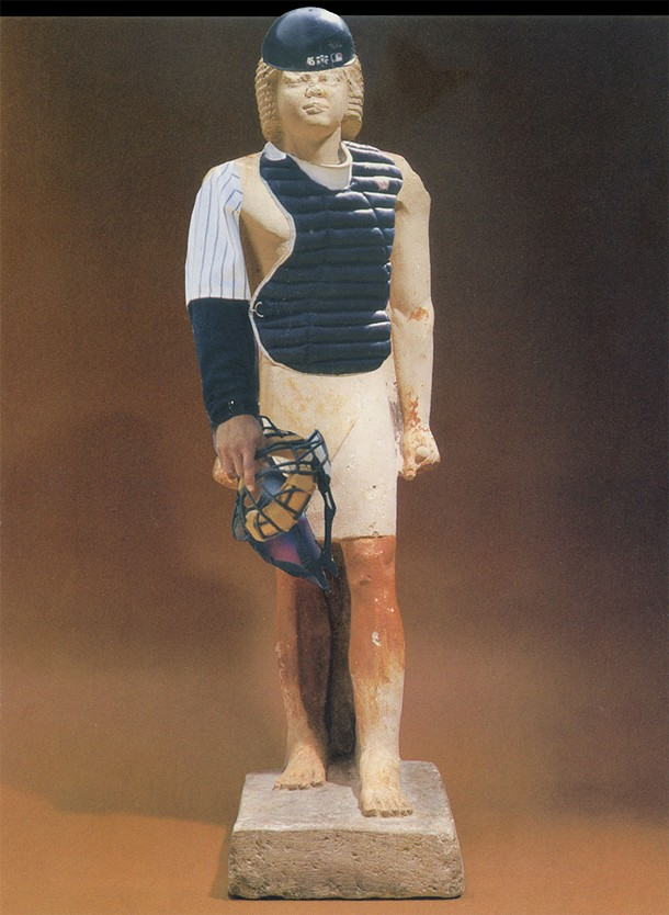 Scholars, mostly untenured, believe this ancient Egyptian funerary figure depicts a catcher for the Karnak Cubs. - MIKHAIL HOROWITZ
