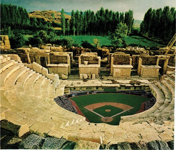 """The Delphi Dolphins (later the Delphi Dodgers) played in this stadium throughout the Age of Classical Myth. One of the most memorable moments in the history of this park occured when Phobeus """"Big Papi"""" Apollo threw a pitch that got away from him and killed the star slugger of the Oracles, Ty Python. - MIKHAIL HOROWITZ"""