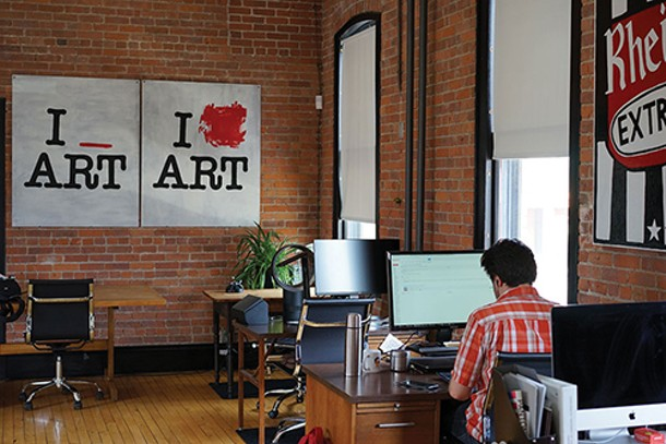 BEAHIVE co-working space in Beacon (paintings by Amy Rowan and Ryan Cronin) - JOHN GARAY