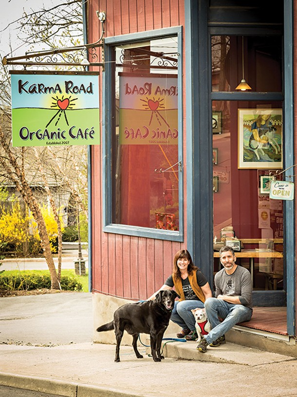 Jenn and Seth Branitz with Oliver and Georgia outside Karma Road in New Paltz. - FRANCO VOGT