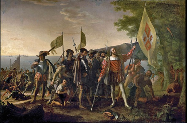 """""""The Landing of Columbus,"""" a painting by Vanderlyn that hangs in the Capitol Rotunda in Washington D.C."""
