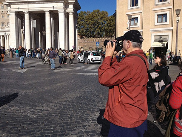"""Tobe Carey filming in Rome's Vatican Square. Tobe Carey's film """"The First Artist in America"""" screens at SUNY Ulster on May 7."""