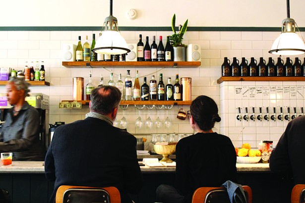 The bar at KB+B features a 10 draft beers, kombucha, Nitro cold brew, two ciders, a dozen select liquors, as well as wines by the glass and bottle. - ABBY FOSTER