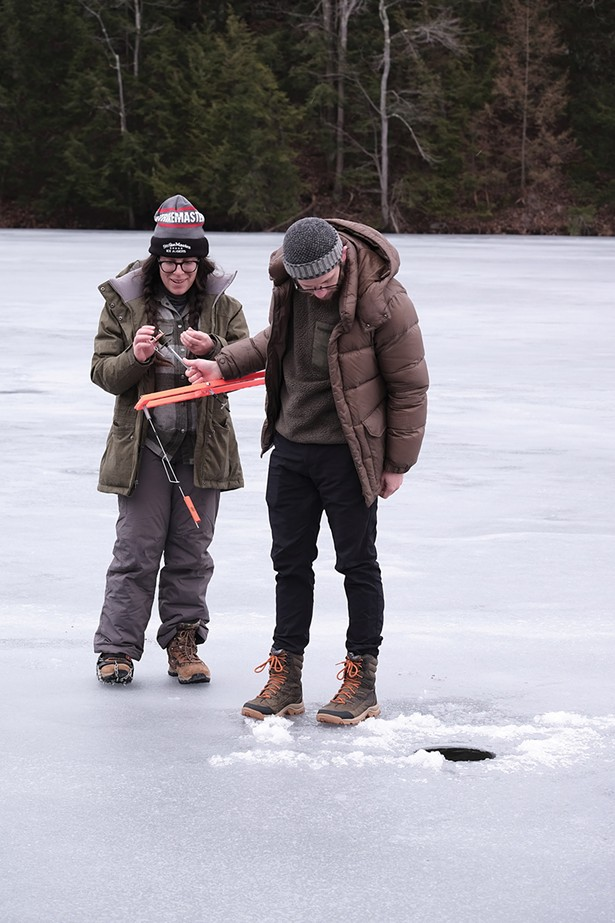 Olivia and Zach Alder at Onteora Lake. The married couple live in Boiceville and their favorite fishing spot is Big Pond, in the western Catskills, but they were taking advantage of a rare day of good conditions this winter at a lake closer to home. - PHOTO BY ROY GUMPEL