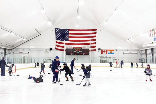 Junior Rangers youth hockey league practice - at the Kiwanis Ice Arena, which re-opened in - December after a $1 million renovation. - PHOTO BY ANNA SIROTA