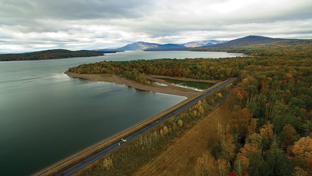 Aerial view of the Glenford Dike section of the Ashokan Rail Trail