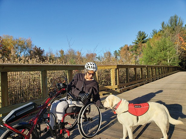 Deborah and Winter on the Ashokan Boardwalk in October 2019. - PHOTO BY MAXANNE RESNICK