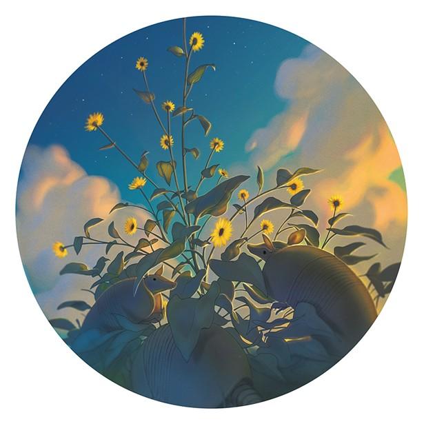 Silver Leaf Sunflower A digital illustration by Lachlan Herrick.