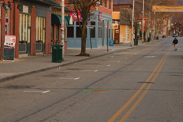 A deserted Main Street in Beacon. Many businesses were mandated to close by order of the governor. - PHOTO BY ROSS CORSAIR