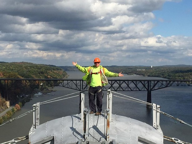 Griffiths on top of the Mid Hudson Bridge between Poughkeepsie and Highland - RYAN GRIFFITHS