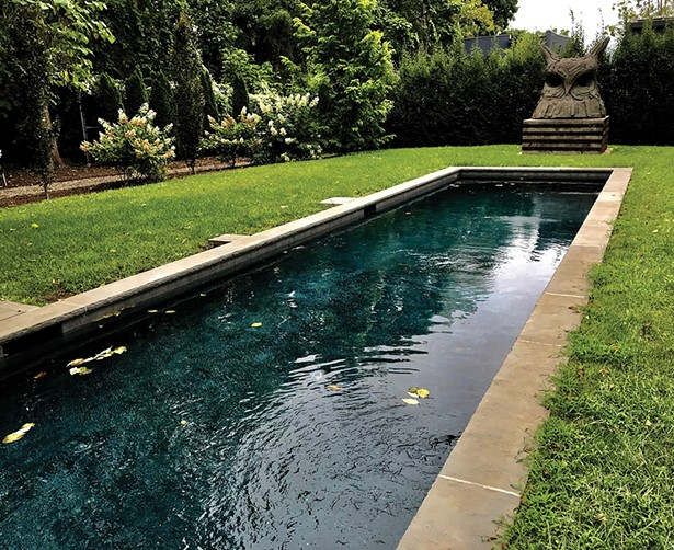 Thomas Houseago's massive bronze sculpture, Large Owl (For B), stands guard over the backyard lap pool.