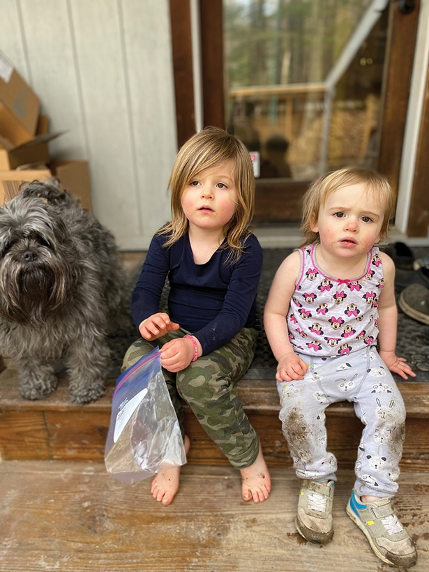 """Downton's daughters, four-year-old Wylder and one year-old Eliza. Downton says about the pandemic, """"I'm not counting the days or weeks we've been isolated now. I've gotten to the place where that piece of information is pointless."""""""