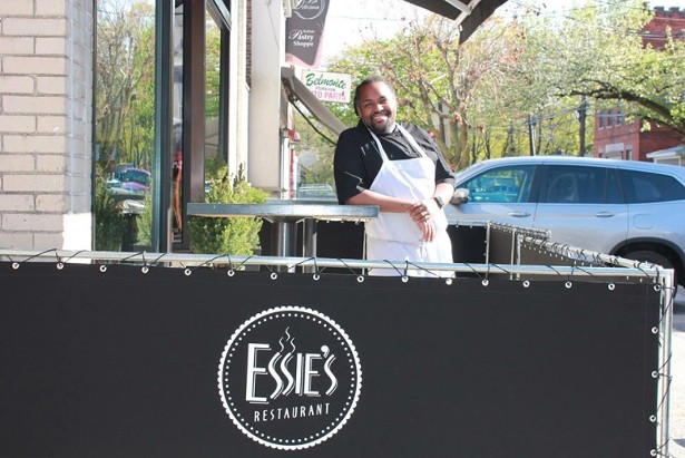 Brandon Walker on the patio at Essie's on Mt. Carmel Place in Poughkeepsie.