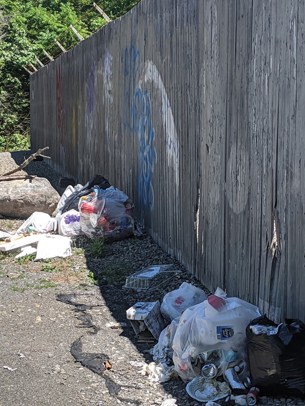 Refuse at High Falls. Residents complain that visitors disrespect the falls, and three different organization volunteer to rid the area of trash. - PHOTO COURTESY OF RICH PARETE
