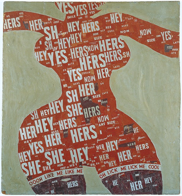 Calliope Venus...Lick Me Momma, Al Hansen, Hershey wrappers and sliver paint on plywood,1968.