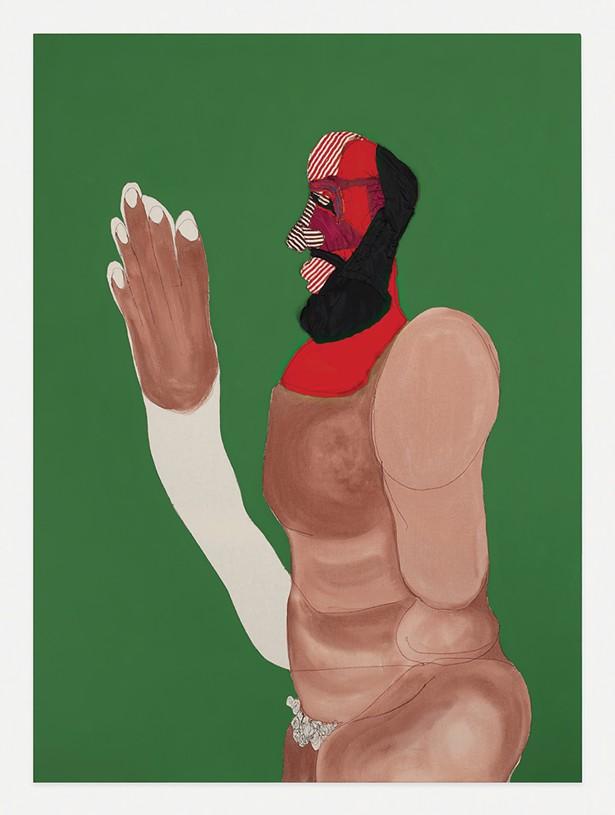 Father, Tschabalala Self, acrylic, gouache, flashe and fabric on canvas, 2019