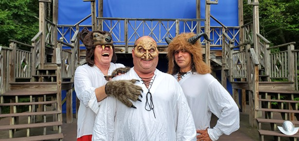 Left to Right: Bill Solley (Bear), Lawrence Beeck (Witch), Jared Reinmuth (Oberon). The three actors will play a total of 47 characters out of Shakespeare's 39 plays.