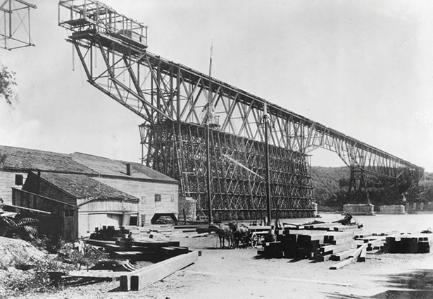 The nearly completed Poughkeepsie Railroad Bridge - in 1888. When it opened a year later, it was the longest bridge in North America. - IMAGE COURTESY OF HISTORIC BRIDGES OF THE HUDSON VALLEY/ARCADIA PUBLISHING