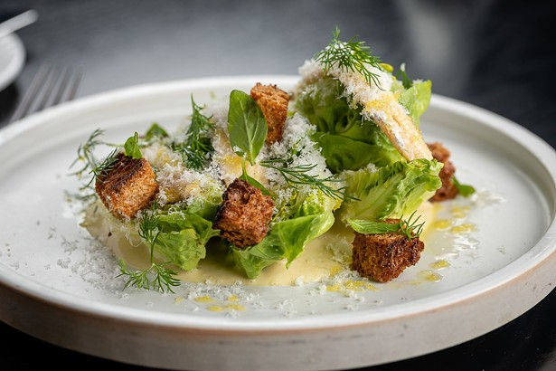"""Little gem """"Caesar"""" salad with boquerones and rosemary croutons"""