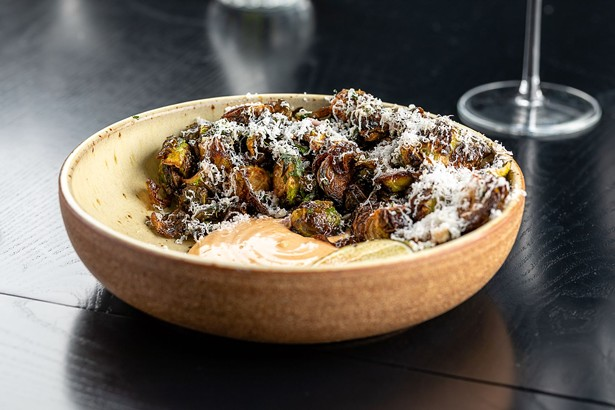 Brussels sprouts with agrodolce and chipotle aioli