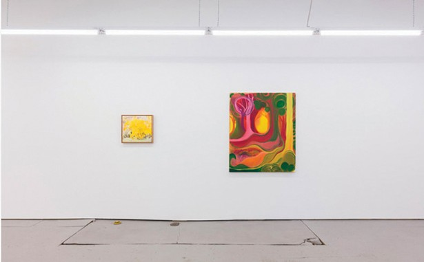 An installation view of Lois Dodd and Shara Hughes's two-person show at Parts & Labor in Beacon.