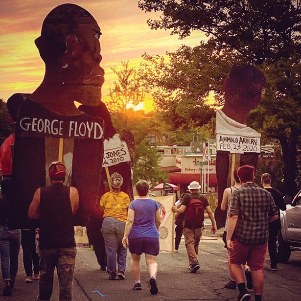 Black Lives Matter march moving west on North Front - Street on September 9. - PHOTO BY NATHAN KIPE.