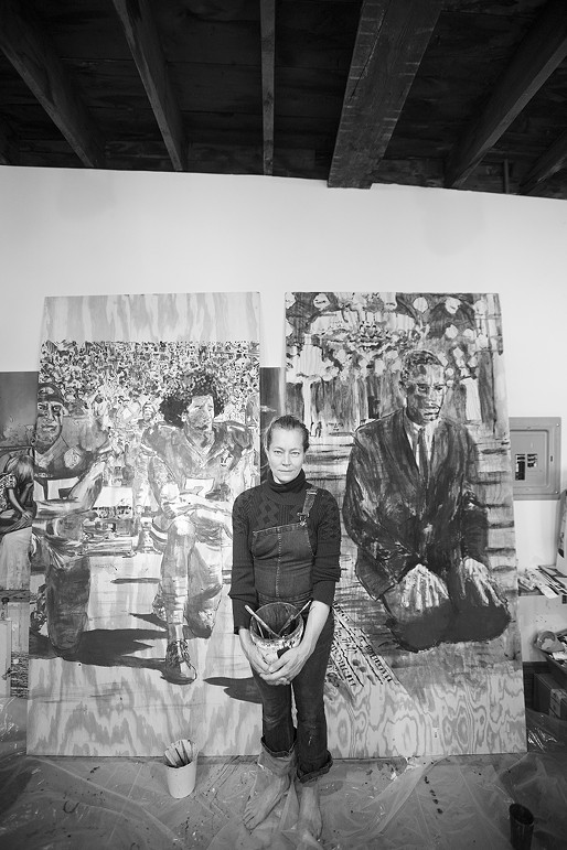 """Artist Charlotta Janssen with her entry for """"Jewel the Wound"""" - PHOTO BY SHANNON GREER"""