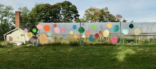 Part of the Terrain Biennial Newburgh 2019, installed at Newburgh Urban Farm and Food Initiative. - ERICA HAUSER, COLORGARDEN, 2019, SCRAP WOOD AND PAINT.