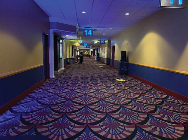 The corridor of Showcase Cinema de Lux in White Plains on October 28. - PHOTO BY DAN FISHER