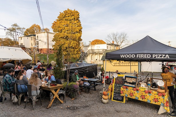 Pizza Farm, Be Golden Farms' popup restaurant in the courtyard of Subversive Brewing. - PHOTO BY ALON KOPPEL