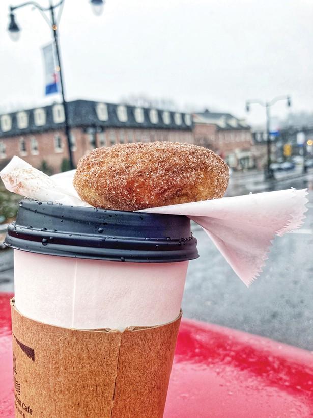 Coffee and cinnamon sugar doughnut from Half Moon Rondout Cafe. - PHOTO @UPPASTRYPLATE VIA INSTAGRAM