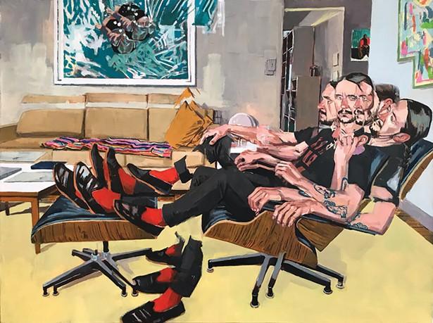 "Self Portrait Red Socks, oil on canvas, 30"" x 40"", 2020"
