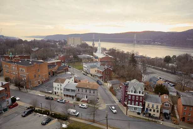 A view of the Mount Carmel neighborhood and the Mid-Hudson Bridge in the distance from the eastern end of the Walkway Over the Hudson. - PHOTO BY DAVID MCINTYRE