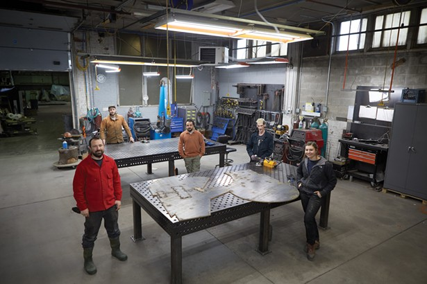 Cottage Street in Poughkeepsie is home to a number of manufacturing businesses, like 4th State Metals, a fabrication facility that works with architects and artists. Left to right: Ben Kane, Isaac Zal, Blake Burba, Dave Markusen Weiss, and Lauren Fix. - PHOTO BY DAVID MCINTYRE