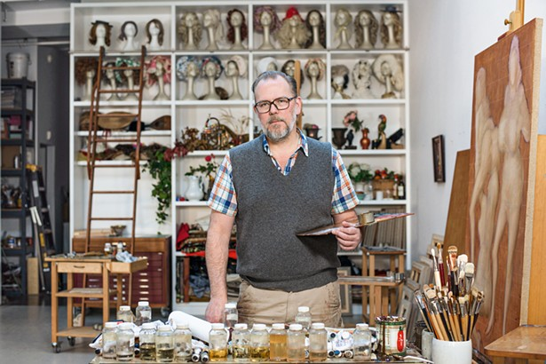 John Currin in his studio. - PHOTO BY CASEY KELBAUGH