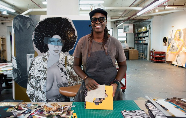 Mickalene Thomas in her studio with materials from her project Love is a Shape Untitled. - PHOTO BY CASEY KELBAUGH