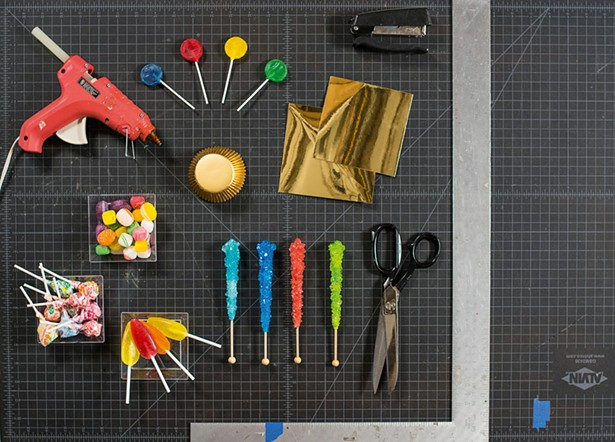 Materials for making Will Cotton's The Royal Crown of Candyland. - PHOTO BY CASEY KELBAUGH