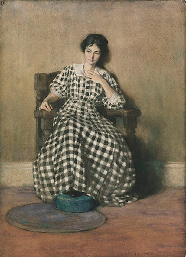 The Checkered Dress (Portrait of O'Keeffe), Hilda Belcher, 1907