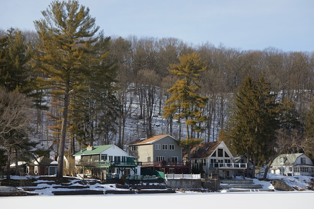 Looking across the creek toward the waterfront homes on Esopus Creek Road from the Esopus Bend Nature Preserve.