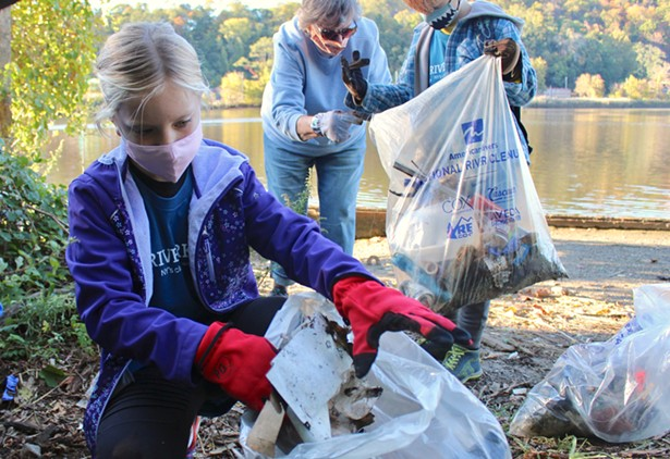 Cleaning up debris at a project site in Peekskill - IMAGE COURTESY OF RIVERKEEPER