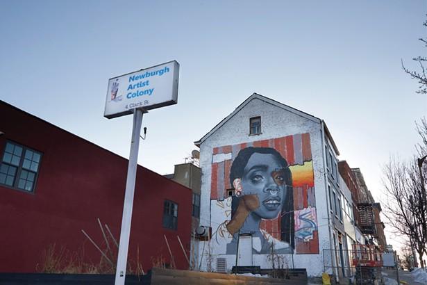 Mural in progress just off Broadway on Clark Street. - DAVID MCINTYRE