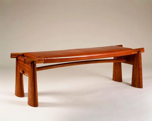 Bench. Bubinga and leather.