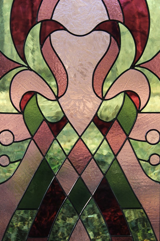 Custom Art Nouveau stained glass window
