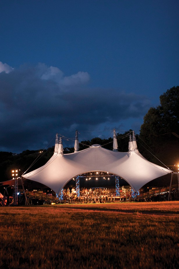 A post-show talkback with actors under the Hudson Valley Shakespeare Festival theater tent. - PHOTO BY WILLIAM MARSH