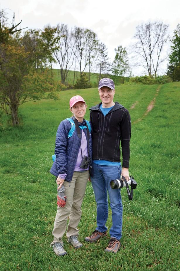 Chris and Emily Fleisch birdwatching at Burger Hill Park. - DAVID MCINTYRE