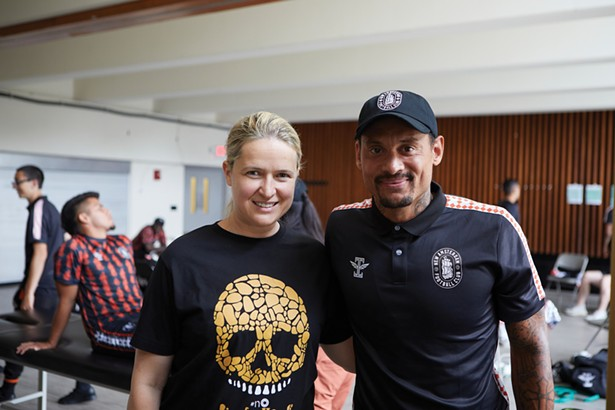 Raluca Gold-Fuchs runs the Hudson Sports Complex with her husband, professional footballer Christian Fuchs. She's pictured here at the facility with former USMNT soccer player Jermaine Jones. - DAVID MCINTYRE