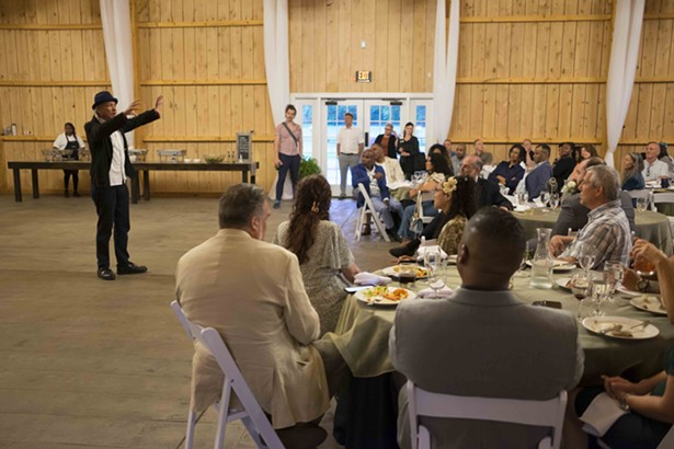 """Steve DeAngelo, """"the father of the legal cannabis industry,"""" addresses the crowd of actual and would-be cannabis industry insiders gathered in Saugerties on June 19. - ROY GUMPEL"""