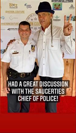 Steve DeAngelo with Saugerties Police Chief Jos Sinagra.