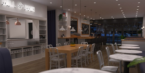 A rendering of Mill & Main's finished interior.